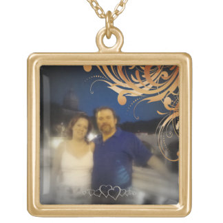 Bride and Groom Romantic Personalized Couple Photo Gold Plated Necklace