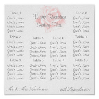 Bride And Groom Seating Chart Pink Rose Poster