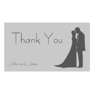 Bride and Groom silhouette Thank You Business Card
