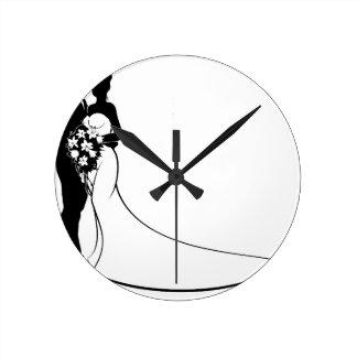 Bride and Groom Silhouette Wedding Concept Clocks