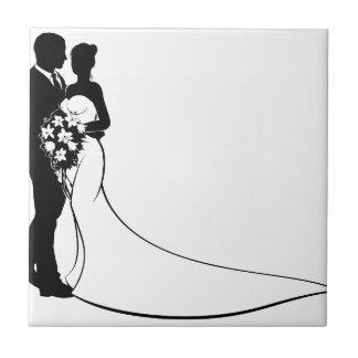 Bride and Groom Silhouette Wedding Concept Tile