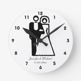 Bride And Groom Silhouettes Wedding Round Clock