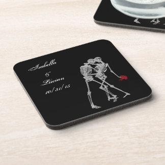 Bride and Groom Skeletons Goth Coasters