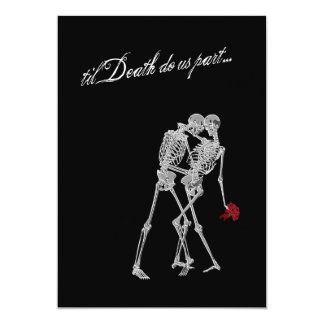 "Bride and Groom Skeletons Goth Wedding 5"" X 7"" Invitation Card"