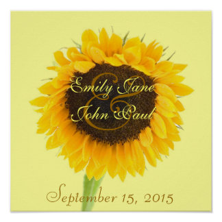 Bride and Groom Sunflower Print
