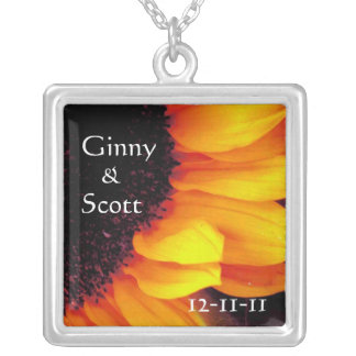 Bride and Groom Sunflower Square Pendant Necklace