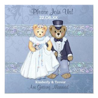 "Bride and Groom Teddy Bear Wedding 5.25"" Square Invitation Card"