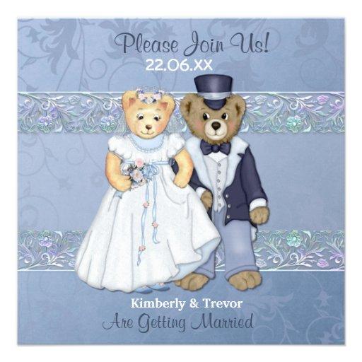 Bride and Groom Teddy Bear Wedding Invitations