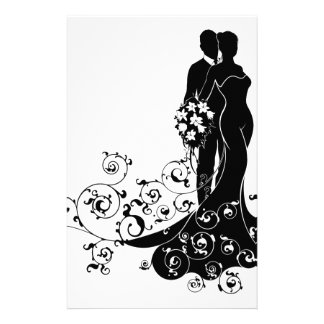 Bride and Groom Wedding Abstract Dress Silhouette Stationery