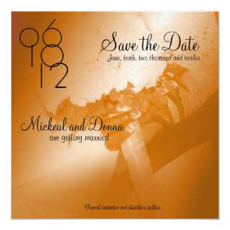 "Bride and Groom Wedding Bouquet Save the Date Invi 5.25"" Square Invitation Card"