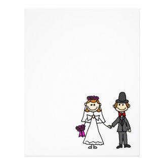 Bride and Groom Wedding Cartoon Custom Letterhead