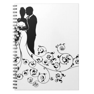 Bride and Groom Wedding Concept Silhouette Notebook