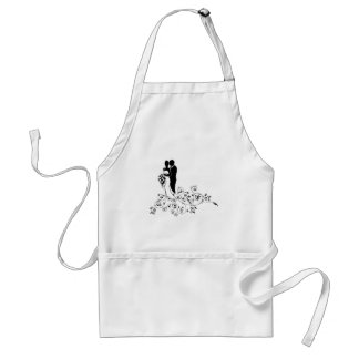 Bride and Groom Wedding Concept Silhouette Standard Apron