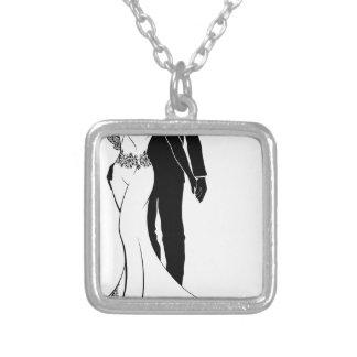 Bride and Groom Wedding Couple Silhouettes Silver Plated Necklace