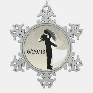 Bride and Groom Wedding Date Snowflake Pewter Christmas Ornament