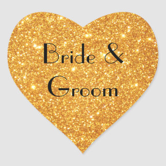 Bride and Groom Wedding Gold Glitter Photo Heart Sticker