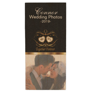 Bride and Groom Wedding Photo Design Wood USB 2.0 Flash Drive