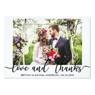 Bride and Groom Wedding Photo Love and Thanks Card