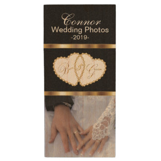 Bride and Groom Wedding Photos Wood USB 2.0 Flash Drive