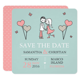 Bride and Groom Wedding Save the Date Card