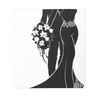 Bride and Groom Wedding Silhouette Notepad
