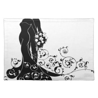 Bride and Groom Wedding Silhouette Placemat