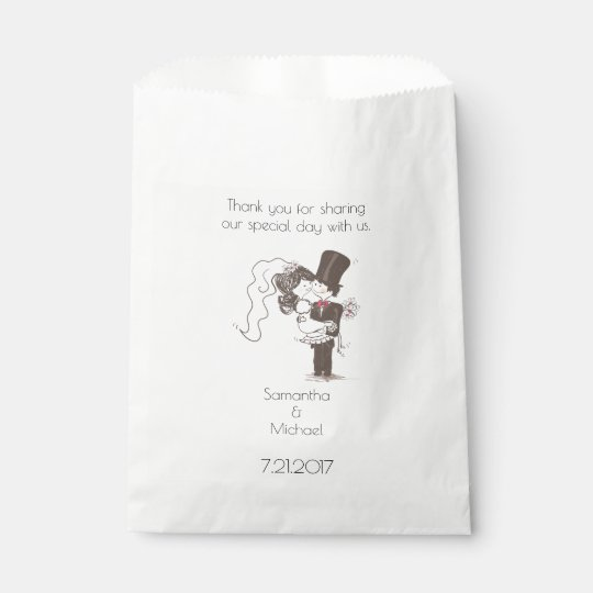 Bride and Groom White Favour Bag