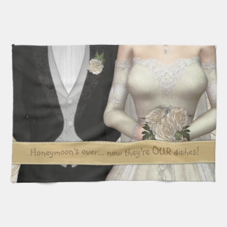Bride and Groom (white) Funny Dish Towel