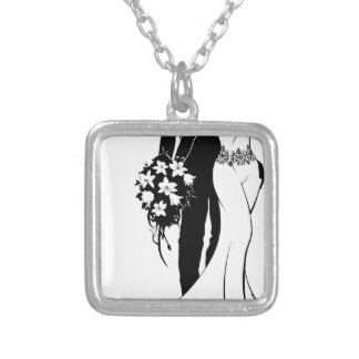 Bride and Groom with Flowers Wedding Silhouette Silver Plated Necklace