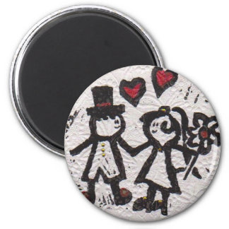 Bride and Grrom 2 2 Inch Round Magnet
