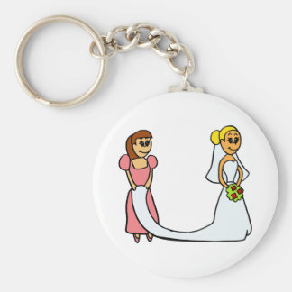 Bride and Maid of Honor Cartoon Basic Round Button Keychain