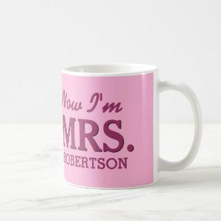 Bride and Newlywed MRS. Custom Name PINK D02 Coffee Mug