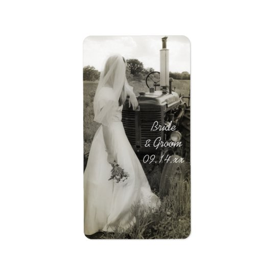 Bride and Tractor Country Wedding Favour Tags