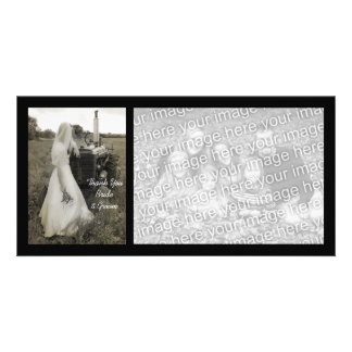 Bride and Tractor Country Wedding Thank You Custom Photo Card
