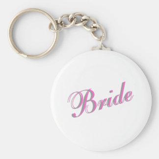 Bride Basic Round Button Keychain