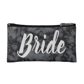 Bride beautiful Black Marble Print Cosmetic Bag