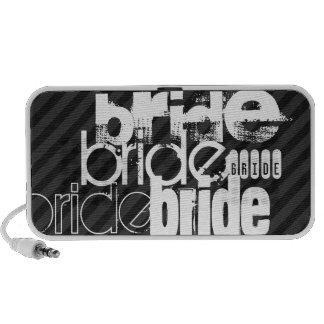 Bride; Black & Dark Gray Stripes Laptop Speakers