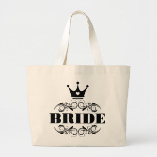 Bride Black on Custom Background Large Tote Bag