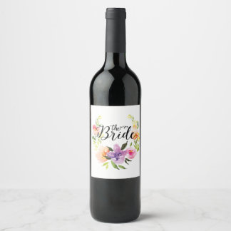 Bride Black Typography, Colorful Floral Wreath Wine Label