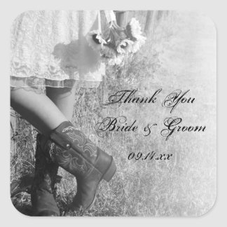 Bride, Boots & Sunflower Country Wedding Thank You Square Sticker