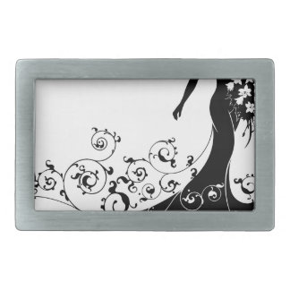Bride Bouquet Wedding Silhouette Abstract Belt Buckle