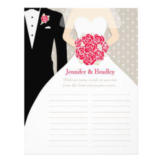 Bride Bridal Shower Word Game red rose dress Full Color Flyer