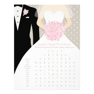 Bride Bridal Shower Word Search Game pink dress Flyers