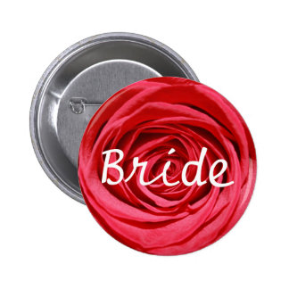 Bride Bridal Trendy Red Rose Wedding Flower Floral 2 Inch Round Button
