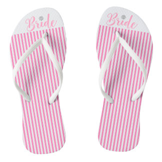 Bride, Bridal,Wedding, Pink Cute Flip Flops