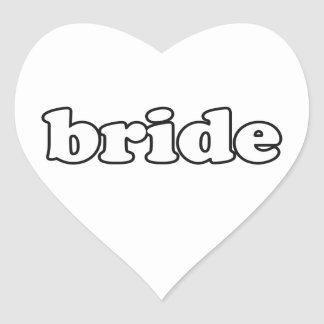 """Bride"" Bride-to-be & Wedding Party Gifts Heart Sticker"