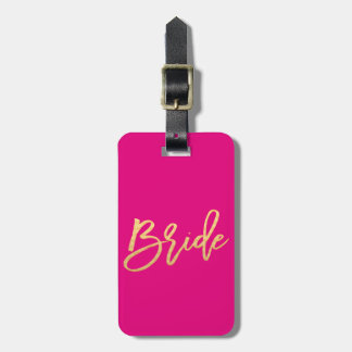 Bride/Bride Tribe Hot Pink and Gold Travel Luggage Tag