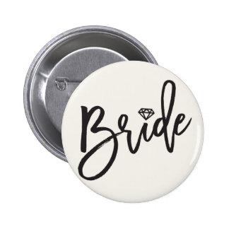Bride Brush Diamond Wedding Bridal Party Button