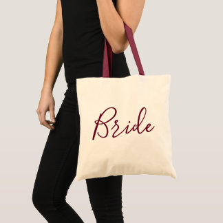 Bride Burgundy Text Tote Bag