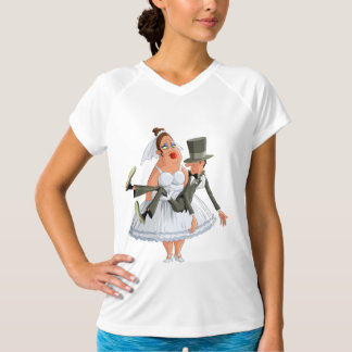Bride Carrying A Groom Womens Active Tee